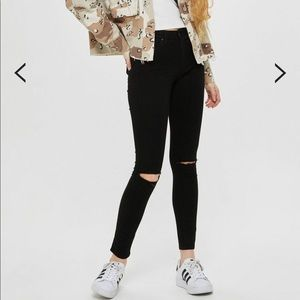 Topshop Leigh MOTO black ripped jeans